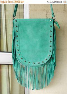 CLEARANCE Stunning  Genuine Aqua Suede Gypsy Stevie Nicks Boho Shabby Chic Fringe  Bag by GlamourZoya on Etsy