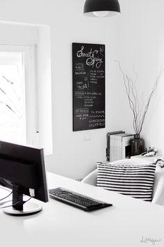 Striped Pillow + Grey Roller Chair + White Desk   b l a n c u i e .