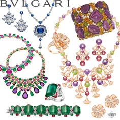 Bulgari Diva collection of High Jewellery. Cuff, earrings, rings with luscious emerald, sapphire and amethyst cabochons and beads.