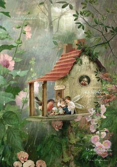 Fairy Print Mounted or unmounted or two Rainy Day Hideaway . Fairy Print Mounted or unmounted or two Fantasy Kunst, Fantasy Art, Fairy Land, Fairy Tales, Elfen Fantasy, Fairy Pictures, Fairytale Art, Beautiful Fairies, Flower Fairies