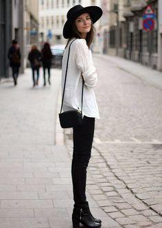 street-style-boots-black-pants-white-blouse-hat