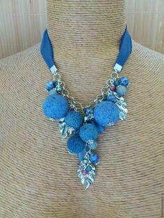 """Купить """"Голубика"""" бусы из натуральных камней Бусы на ленте Голубые бусы колье"""