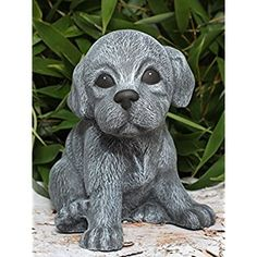 Garden ornament Dog pup, sitting, Cast stone, Slate gray