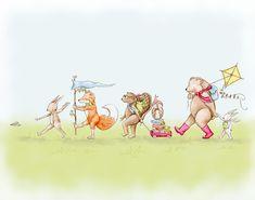 Follow Me to School March Children's Art by fischtaledesigns nursery art childrens illustration