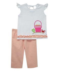 Loving this White & Orange Tee & Capri Pants - Infant, Toddler & Girls on #zulily! #zulilyfinds