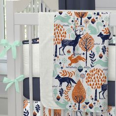 Baby Blanket in Navy and Orange Woodland by Carousel Designs.