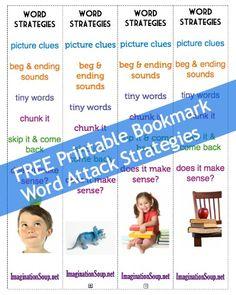 free printable bookmark of word attack strategies