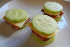 "Low Carb Cucumber Sandwiches - you can also prepare these ""Lunchable"" style if you want more bites :)"
