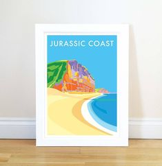 Jurassic Coast vintage style travel poster and seaside print forms part of the British Coastlines travel art collection. Created by Devon Artist Becky Bettesworth. Student Room, Jurassic Coast, Travel And Tourism, Picture Sizes, Travel Posters, Picture Wall, Bristol, Seaside, Vintage Fashion