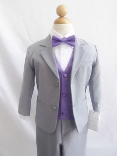 Formal Boy Suit Gray with Purple Eggplant Vest for Toddler Baby Ring Bearer Easter Communion Bow Tie Size 2, 3, 4, and More on Etsy, $36.99