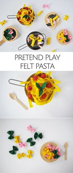 DIY Pretend Play Food: Felt and Paper Pasta and Spaghetti. Kitchen fun for kids! by leslie Play Kitchen Food, Diy Kids Kitchen, Pretend Kitchen, Play Kitchens, Kitchen Ideas, Felt Food Patterns, Felt Play Food, Kids Play Food, Pretend Food