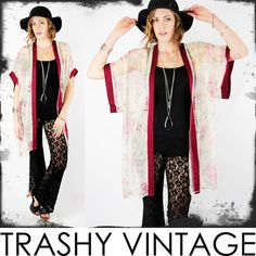 vtg 80s 90s boho gypsy SHEER FLORAL print draped KIMONO SLV cape jacket S/M/L $68.00