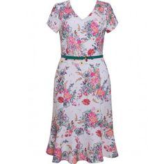 Vestido Feminino em Jacquard Estampa Exclusiva Floral Seiki 680714 - Rosa - Frente