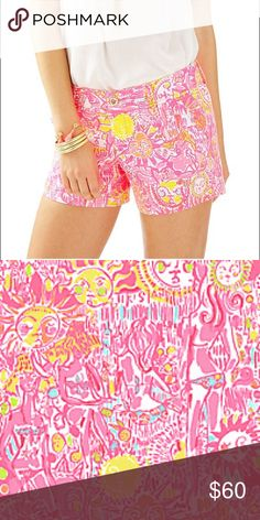 "Lilly Pulitz More Kini In the Keys Callahan shorts SOLD OUT PRINT. Brand new with tags bought these for myself but they they're not my size! Asking for what I paid for 💗 These beautiful shorts have a  5"" Inseam, Zip Fly Short With Center Front Button Closure, Slant Front Pockets And Back Welt Pockets. Wave Jacquard- Printed (100% Cotton). Bright pink, with suns, pineapples, and everything inspired Key West Theme. These shorts are the perfect spring to summer shorts! 💕 Lilly Pulitzer Shorts"