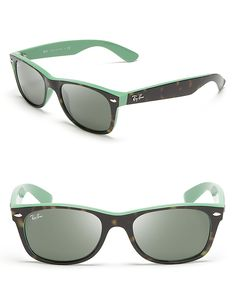 Ray-Ban New Green & Animal Print Wayfarer Sunglasses