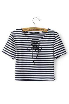 Stripe Lace-up Cropped T-shirt -YOINS