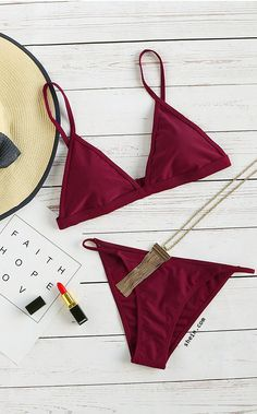 Burgundy Triangle Sexy Bikini Set
