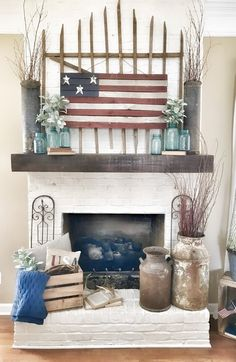 4th Of July Living Room Decor Ideas | Bless This Nest Fireplace Decor