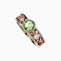 Luminous Filigree Ring with Peridot and Diamonds