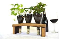 Wine Barrel and Bottle Herb Garden Planter by winecountrycraftsman, $50.00