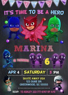 Invitación de PJ máscaras fiesta de cumpleaños de máscaras de