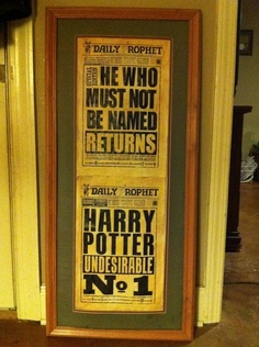 Aged by hand ,, Harry Potter Daily Prophet  ,,,Get ur Paper ,,,Daily Prophet. $9.99, via Etsy.  I would LOVE this framed print.