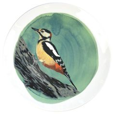 Wall Plate with the illustration of the Spotted Woodpecker
