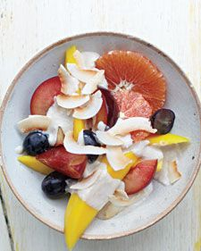 Tahini and coconut give classic fruit salad an exotic twist. Mango, grapes, and citrus fruit work well here, but you can also use any fruit that's in season.
