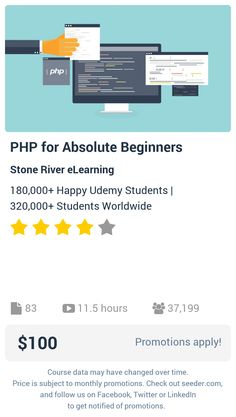 PHP for Absolute Beginners | Seeder offers perhaps the most dense collection of high quality online courses on the Internet. Over 13,800 courses, monthly discounts up to 92% off, and every course comes with a 30-day money back guarantee.
