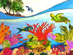 I am a tropical artist from Bradenton, FL. My goal is to bring my art to you through a wide array of colorful purses for the tropical lifestyle. Here's to livin' the beach life thru a tropical world of color. Tropical Colors, Tropical Art, Set Me Free, World Of Color, Love Painting, Under The Sea, Wall Murals, Original Artwork, My Arts