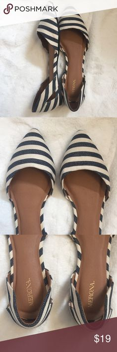 Merona • Striped Flats NWOT Striped navy and cream pointed flats by Merona - cute cutout design on each side. Canvas upper. Comfortable and fit true to size. NWOT, no flaws. Merona Shoes Flats & Loafers
