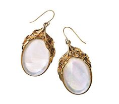 $38 Feather + Stone Drop Earrings