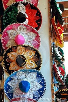 Charro Mexican Mariachi Colorful Hats Stock Image - Image of beautiful, golden: 18738755 Poncho Mexican, Mexican Hat, Mexican Night, Mexican Style, Mariachi Hat, Mexican Mariachi, Mexican Restaurant Design, Mexico Art, Stock Foto