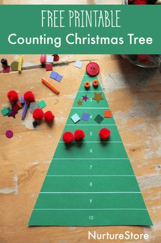 Use this printable Christmas tree play mat to set up a Christmas tree decoration station using loose parts to develop fine motor skills Christmas Decorations For Kids, Cute Christmas Tree, Christmas Activities For Kids, Free Christmas Printables, Christmas Themes, Christmas Cards, Colored Paper, Motor Skills, Fine Motor