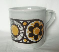 Vintage Staffordshire mug with a beautiful retro pattern. $7.00, via Etsy.