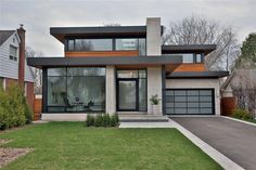 nice but prefer not to use grey colour; windows Modern Home Exteriors, Modern House Plans, Modern Homes, Modern House Design, House Siding, Facade House, Grey Windows, Good House, New Home Designs