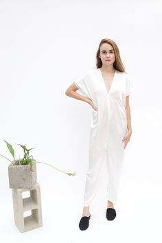 Everyday Jumpsuit, Silk Charmeuse in Natural