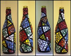 Colorful Mosaic Wine Bottle | Just finished this one....real… | Flickr