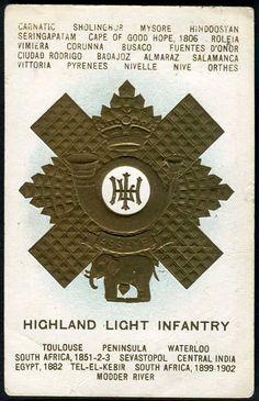 HIGHLAND LIGHT INFANTRY - badge & battle honours embossed with gilt ink circa 1915