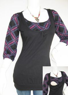 Maternity Clothes / Nursing Top / Breastfeeding Top / BECCA NEW / TARTAN Black / Nursing Clothes / Pregnancy Clothes on Etsy, $26.00