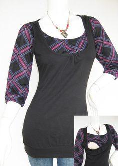 Maternity Clothes / Nursing Top / Breastfeeding Top / BECCA NEW / TARTAN Black / Nursing Clothes / Pregnancy Clothes on Etsy, $26.00