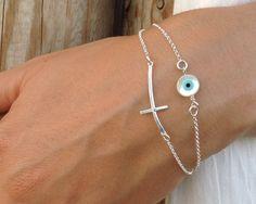 Evil eye bracelet, Silver sideways cross & evil eye, layered cross bracelet,bridesmaid gift, anniversary gift by JewelryFamousWorld on Etsy