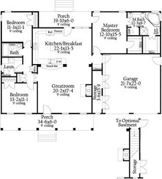 Cottageville House Plan - approx 1,600 sq, 3 bed/2 bath, single floor with optional basement. Small-ish but cozy