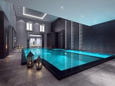 Indoor Swimming Pool Ideas - You want to build a Indoor swimming pool? Here are some Indoor Swimming Pool designs and ideas for you. Indoor Swimming Pools, Swimming Pool Designs, Lap Pools, Luxury Swimming Pools, Dream Home Design, Modern House Design, Moderne Pools, Piscina Interior, Luxury Pools