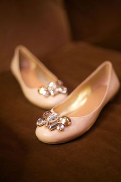 Pink ballet flats with jewels