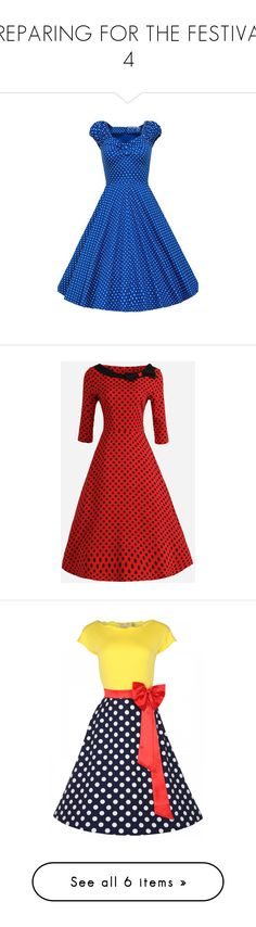 """""""PREPARING FOR THE FESTIVAL. 4"""" by m-kints ❤ liked on Polyvore featuring dresses, blue, blue cotton dress, blue short sleeve dress, blue knee length dress, knee length dresses, vintage polka dot dress, red holiday party dress, party dresses and red party dresses"""