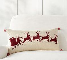 Sleigh Bell Crewel Embroidered Lumbar Pillow #potterybarn
