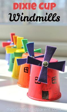 Dixie Cup Windmill Craft- A creative way to discuss new energy.