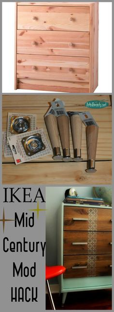 ART IS BEAUTY: Mid Century MOD IKEA Rast HACK dresser.  LEGS from Menard.