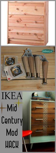 ART IS BEAUTY: Mid Century MOD IKEA Rast HACK dresser. LEGS from Menard.